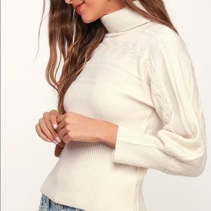 JOA Ivory Cable Knit Sweater